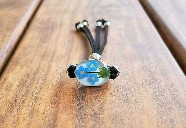 Forget-Me-Not, Oval shape, Leather Bracelet, Transparent