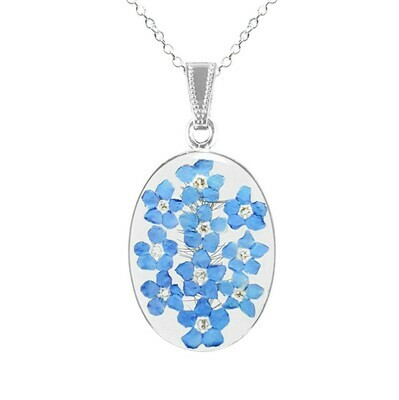 Forget-Me-Not Necklace, Large Oval, Transparent