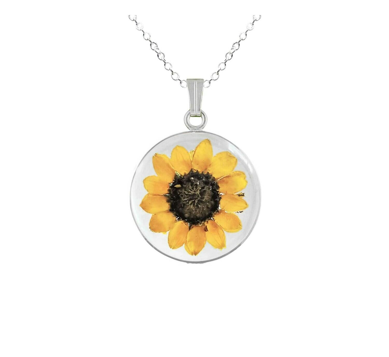 Sunflower Necklace, Medium Circle, Transparent