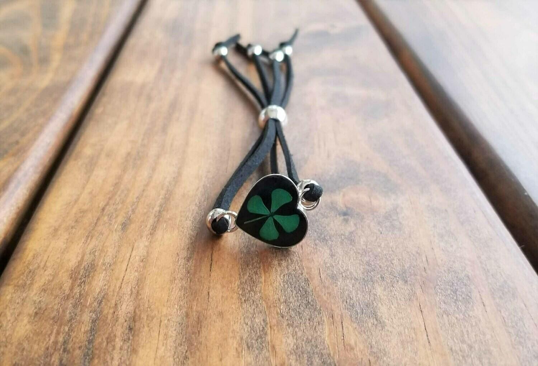 Four-Leaf Clover, Heart Leather Bracelet, Black Background