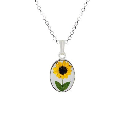 Sunflower Necklace, Small Oval, Transparent