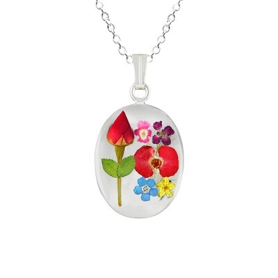 Rose & Mix Flowers Necklace, Medium Oval, Transparent