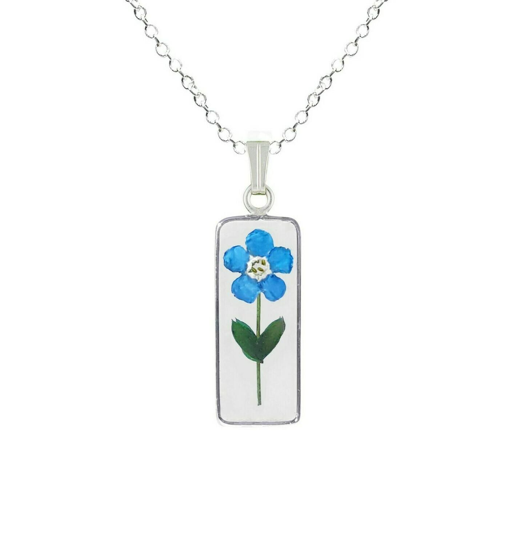 Forget-Me-Not Necklace, Medium Rectangle, Transparent
