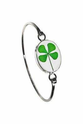Four-Leaf Clover, Oval Bracelet, Transparent