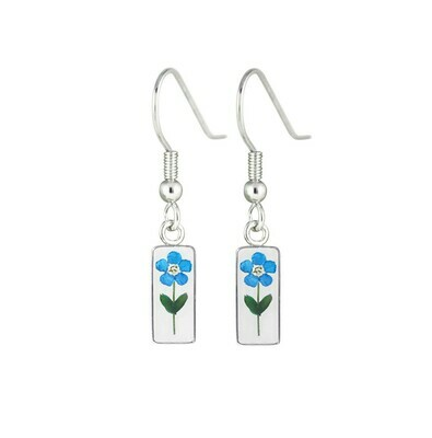 Forget-Me-Not, Rectangle Hanging Earrings, Transparent