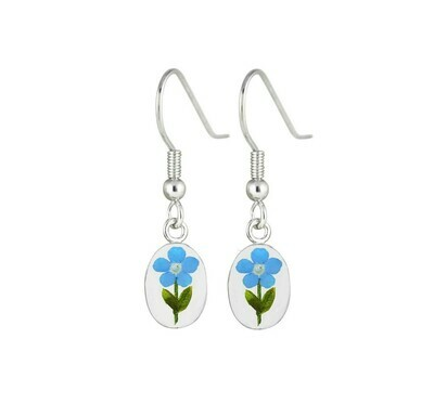Forget-Me-Not, Small Oval Hanging Earrings, Transparent