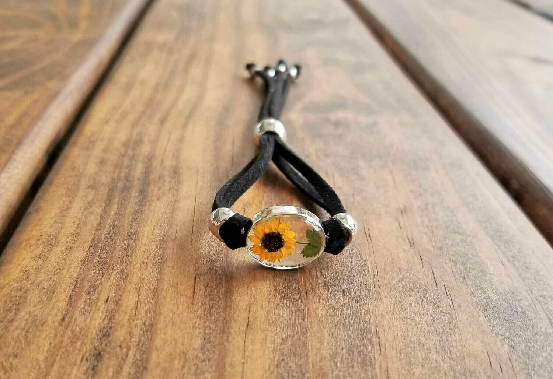 Sunflower Small Oval Leather Bracelet, Transparent
