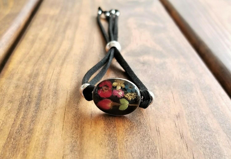 Rose and Multi-Flower Oval Leather Bracelet, Black Background