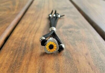 Sunflower Small Heart Leather Bracelet, Transparent.