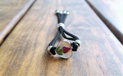 Rose Small Heart Leather Bracelet, Transparent