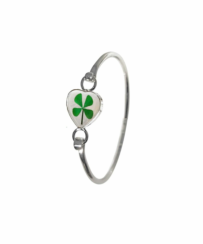 Four-Leaf Clover, Heart Bracelet, Transparent