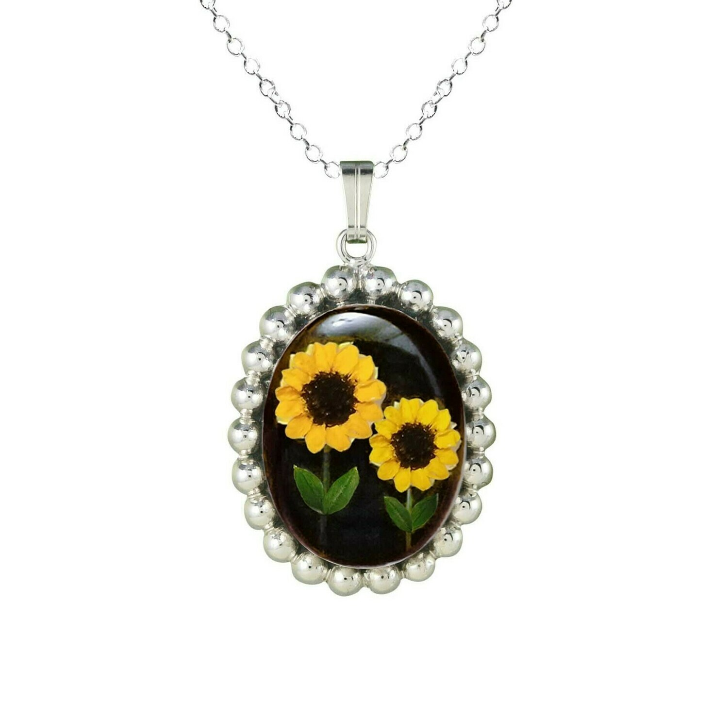 Sunflower Necklace, Oval Medallion, Black Background