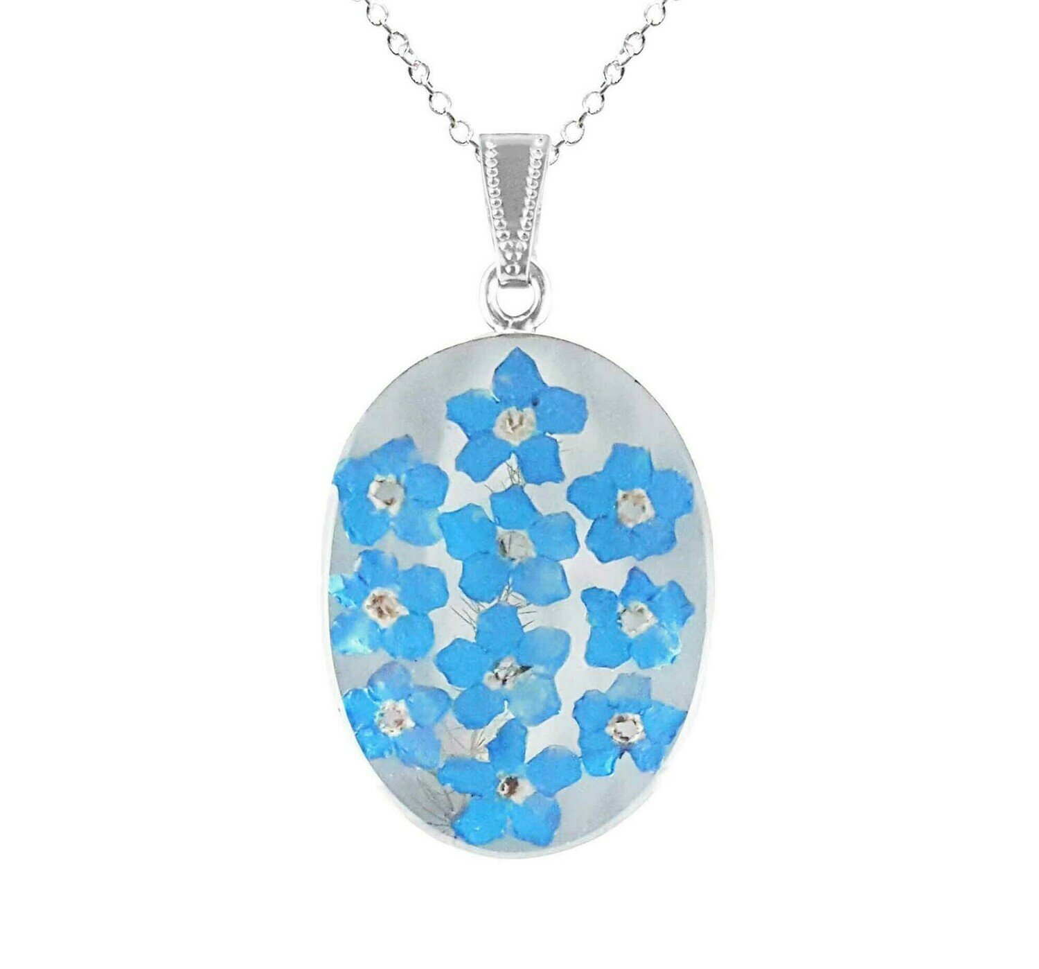 Forget-Me-Not Necklace, Large Oval, White Background