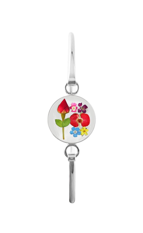 Rose & Mix Flowers, Medium Circle Bracelet, Transparent.