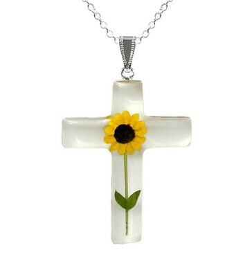 Sunflower Necklace, Large Cross, White Background