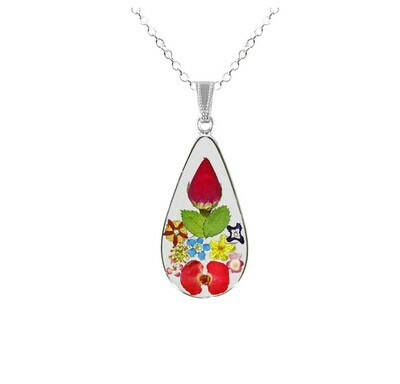 Rose & Bonsai Mixed Flowers Necklace, Medium Teardrop, Transparent