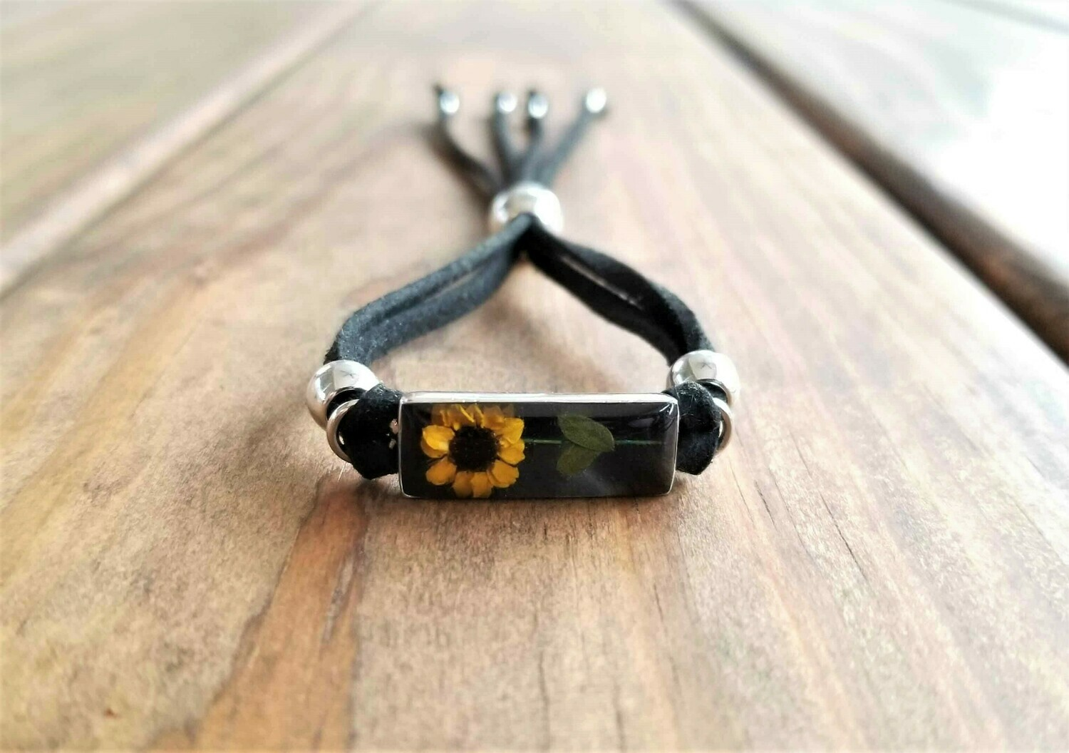 Sunflower Rectangle Leather Bracelet, Black Background