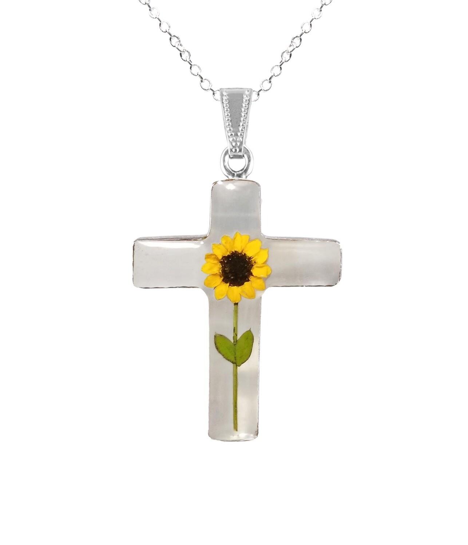 Sunflower Necklace, Large Cross, Transparent