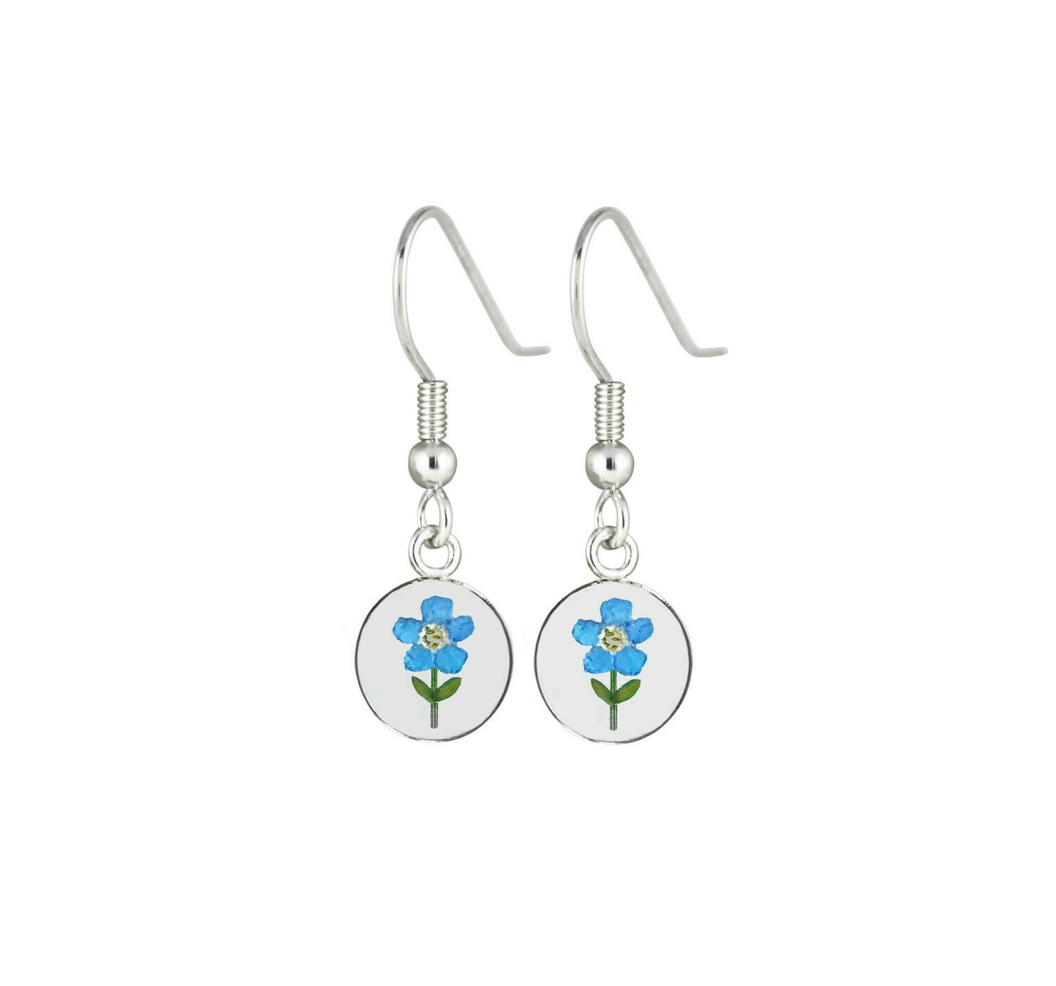 Forget-Me-Not, Circle Hanging Earrings, Transparent