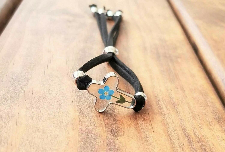Forget-Me-Not, Cross Leather Bracelet, Transparent