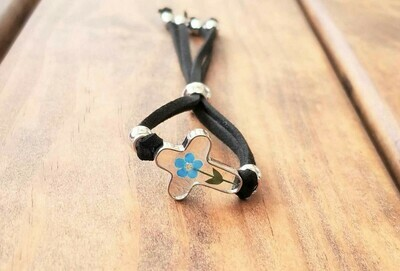 Forget-Me-Not, Cross Leather Bracelet, Transparent