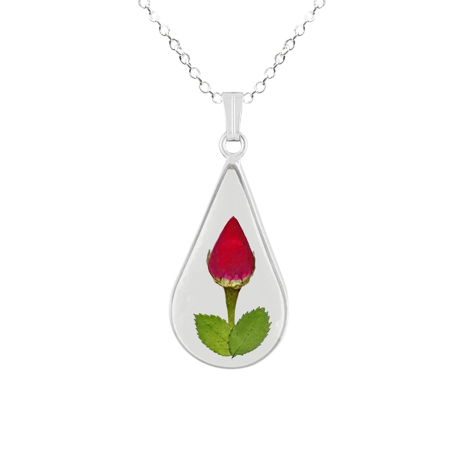 Rose Necklace, Medium Teardrop, Transparent