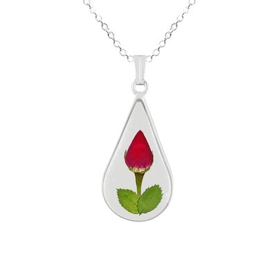 Rose Necklace, Medium Teardrop, Transparent