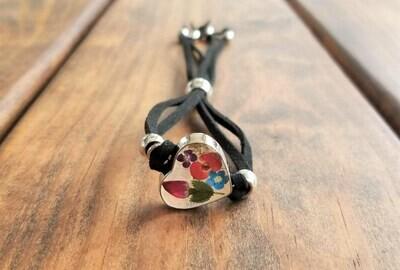 Rose and Multi-Flower Heart Leather Bracelet, Transparent