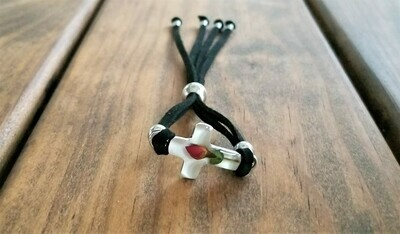 Rose Cross Leather Bracelet, White Background