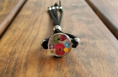 Rose and Multi-Flower Circle Leather Bracelet, Transparent