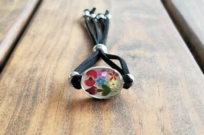 Real Rose and Multi-Flower, Leather Bracelet, Transparent