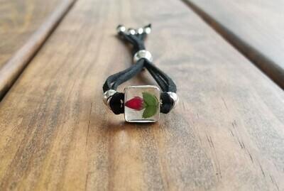 Rose Small Square Leather Bracelet, Transparent