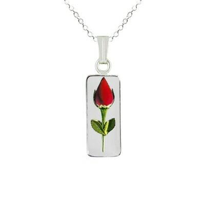 Rose Necklace, Medium Rectangle, Transparent