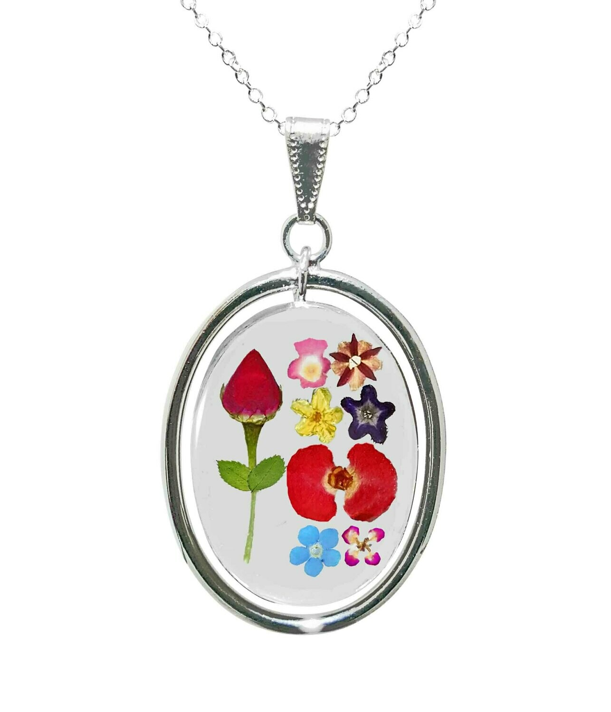 Rose & Mixed Flowers Necklace, Swivel Teardrop, Transparent