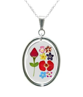 Rose & Mixed Flowers Necklace, Swivel Teardrop, Transparent