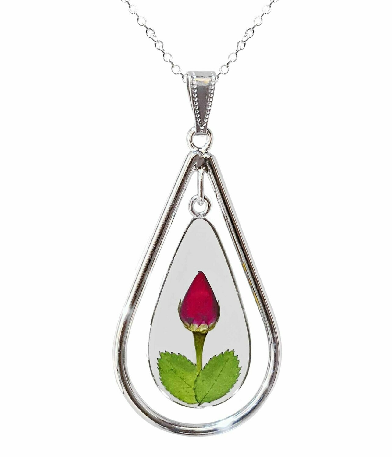 Rose Necklace, X-Large Swivel Teardrop, Transparent