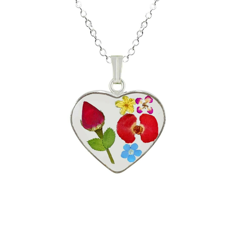 Rose & Mixed Flowers Necklace, Heart Pendant, Transparent