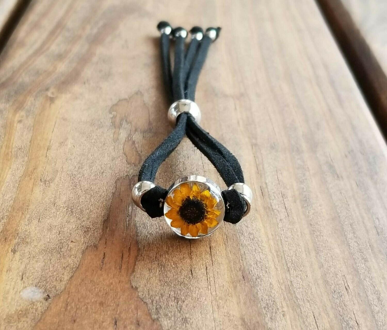 Sunflower Small Circle Leather Bracelet, Transparent.
