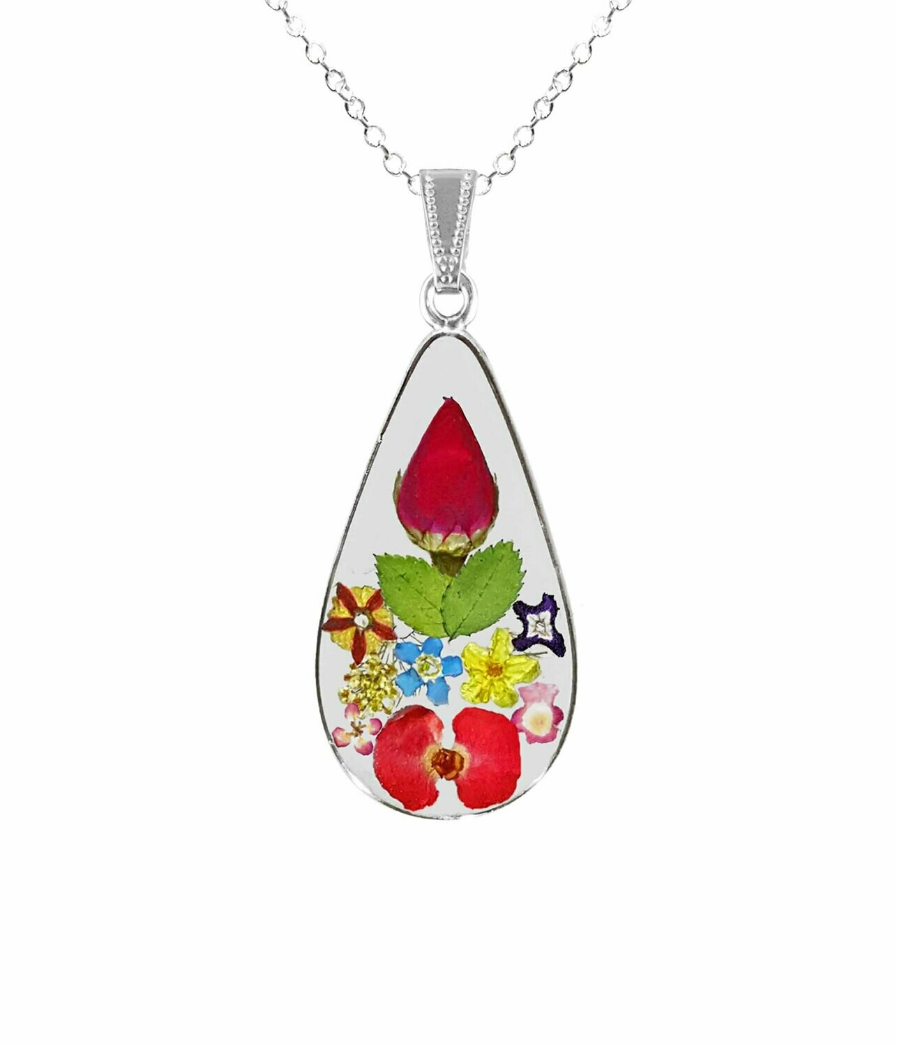 Rose & Mixed Flowers Necklace, Large Teardrop, Transparent