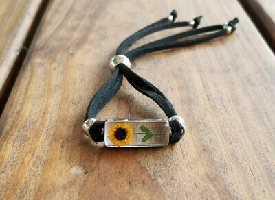 Sunflower Rectangle Leather Bracelet, Transparent