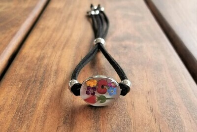 Rose and Multi-Flower Oval Leather Bracelet, White Background