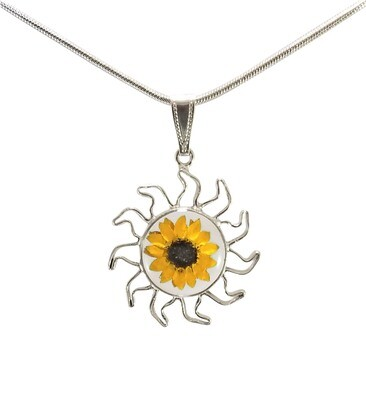 Sunflower Necklace, Sun Pendant, Transparent