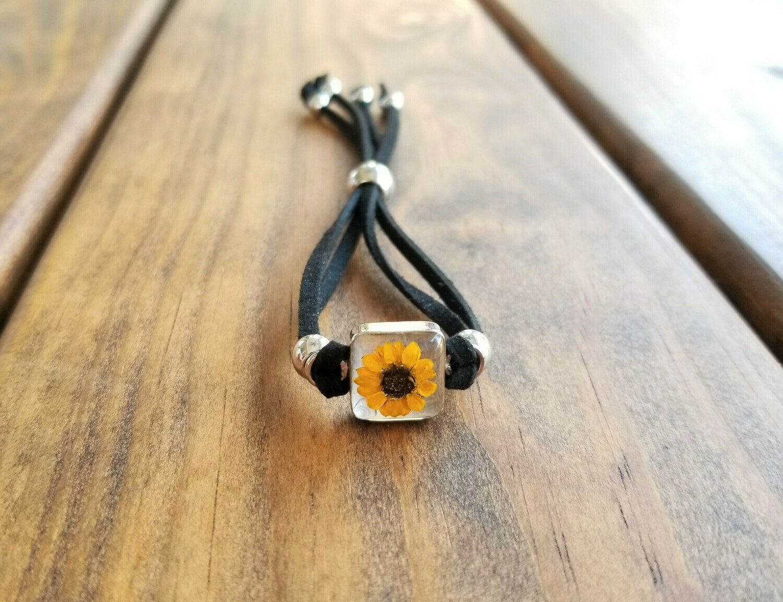 Sunflower Small Square Leather Bracelet, Transparent.