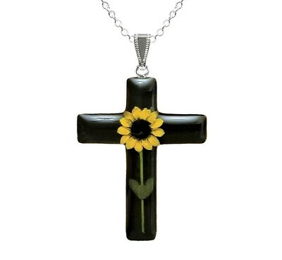 Sunflower Necklace, Large Cross, Black Background