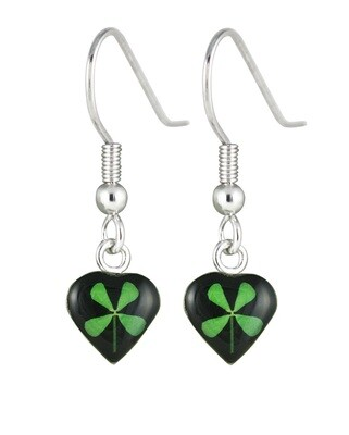 Four-Leaf Clover, Heart Hanging Earrings, Black Background