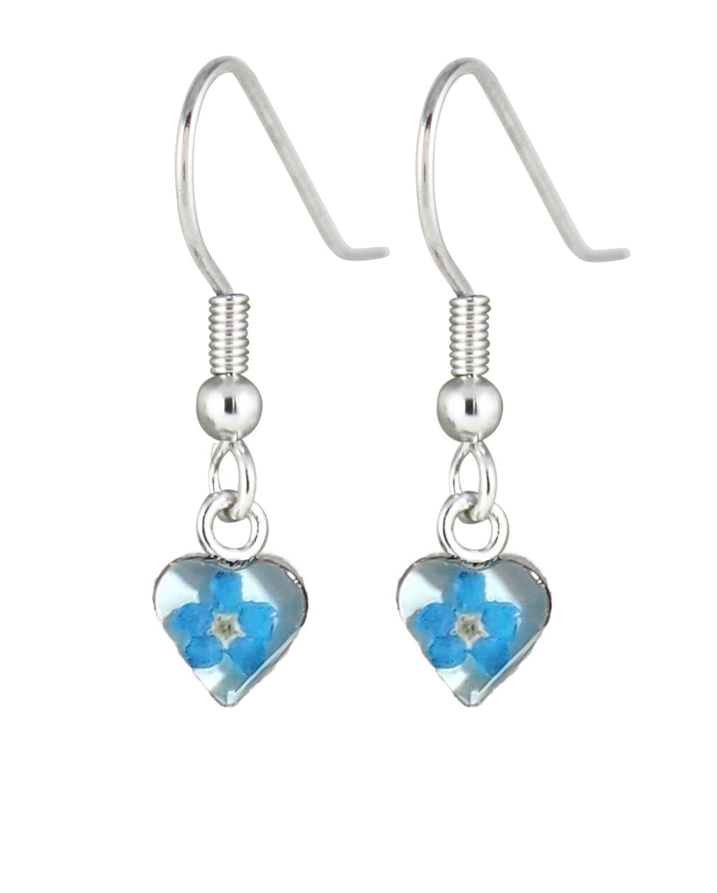 Forget-Me-Not, Mini Heart Earrings, White Background