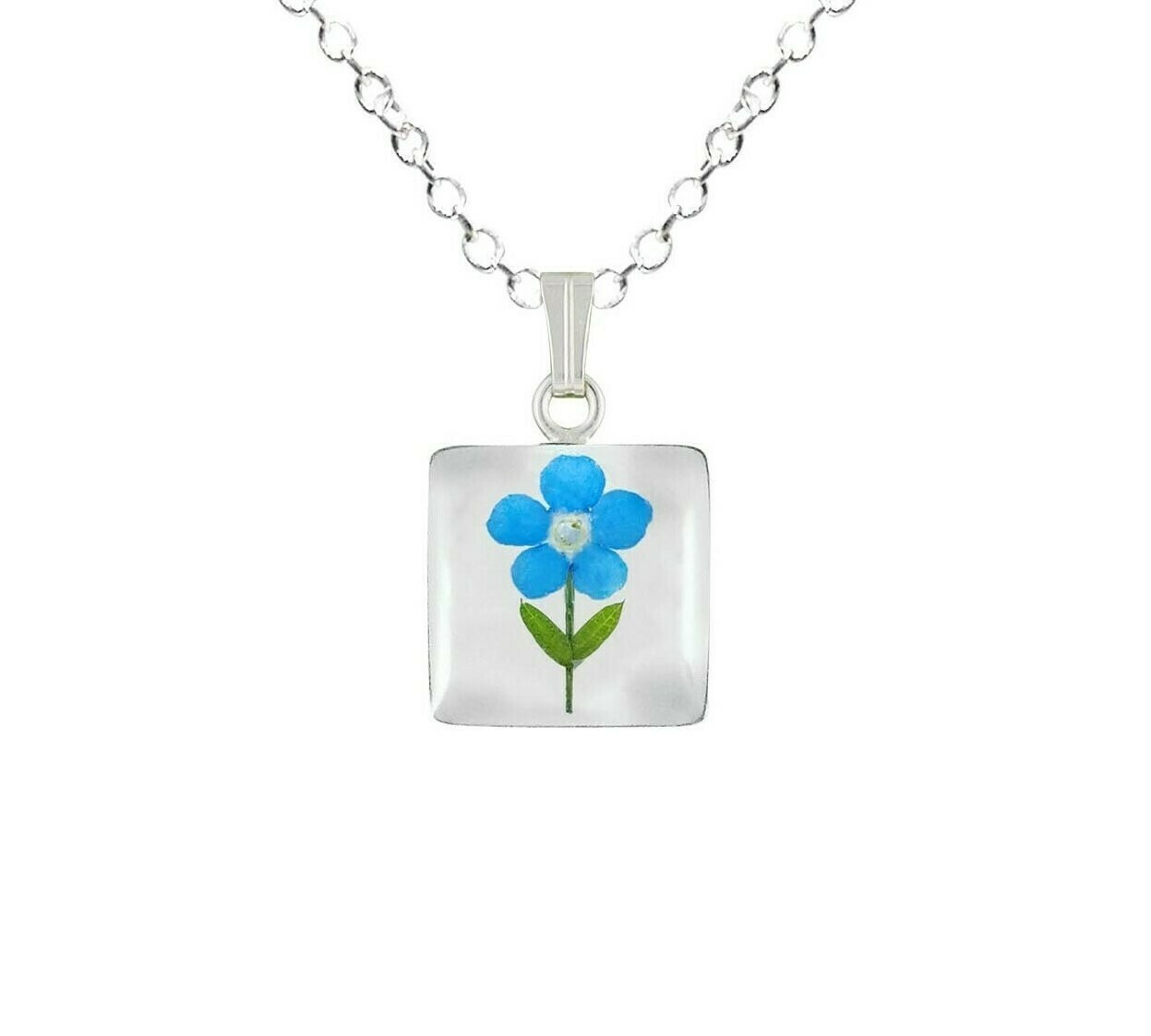 Forget-Me-Not Necklace, Small Square, White Background