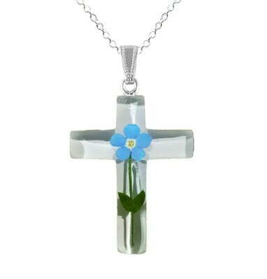 Forget-Me-Not Necklace, Large Cross, White Background