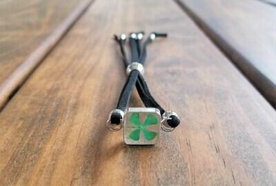 Four-Leaf Clover, Small Square Leather Bracelet, Transparent