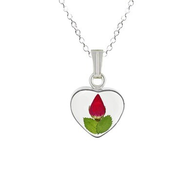 Rose Necklace, Small Heart, Transparent Background